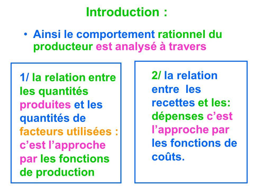 Introduction : Ainsi le comportement rationnel du producteur est analysé à travers 1/ la relation entre les quantités produites et les quantités de fa