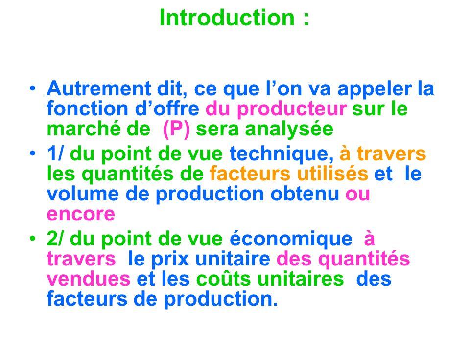 Introduction : Autrement dit, ce que lon va appeler la fonction doffre du producteur sur le marché de (P) sera analysée 1/ du point de vue technique,