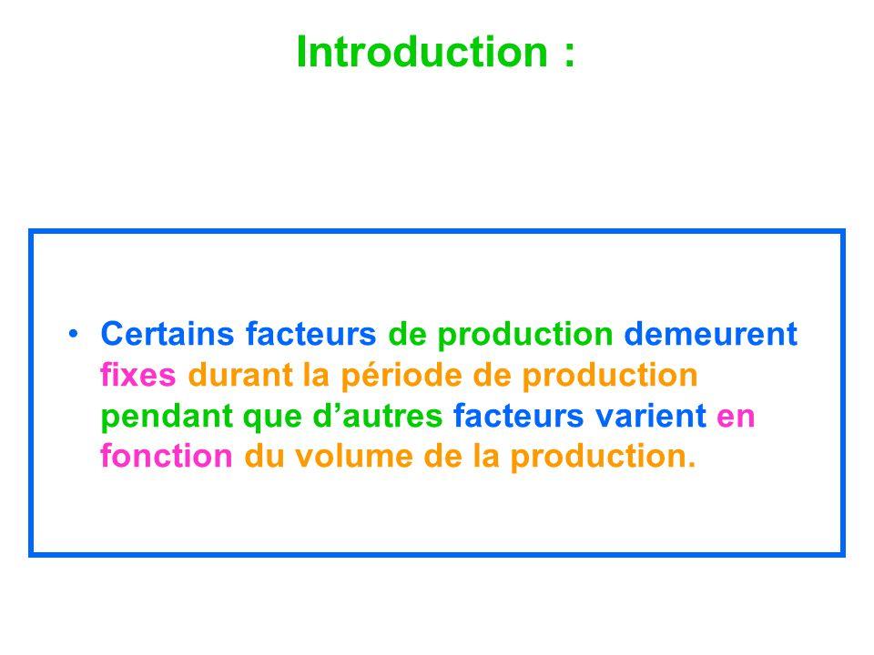Introduction : Certains facteurs de production demeurent fixes durant la période de production pendant que dautres facteurs varient en fonction du vol