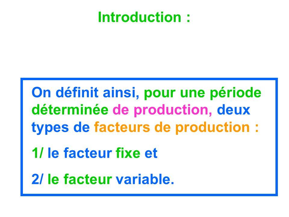 Introduction : On définit ainsi, pour une période déterminée de production, deux types de facteurs de production : 1/ le facteur fixe et 2/ le facteur