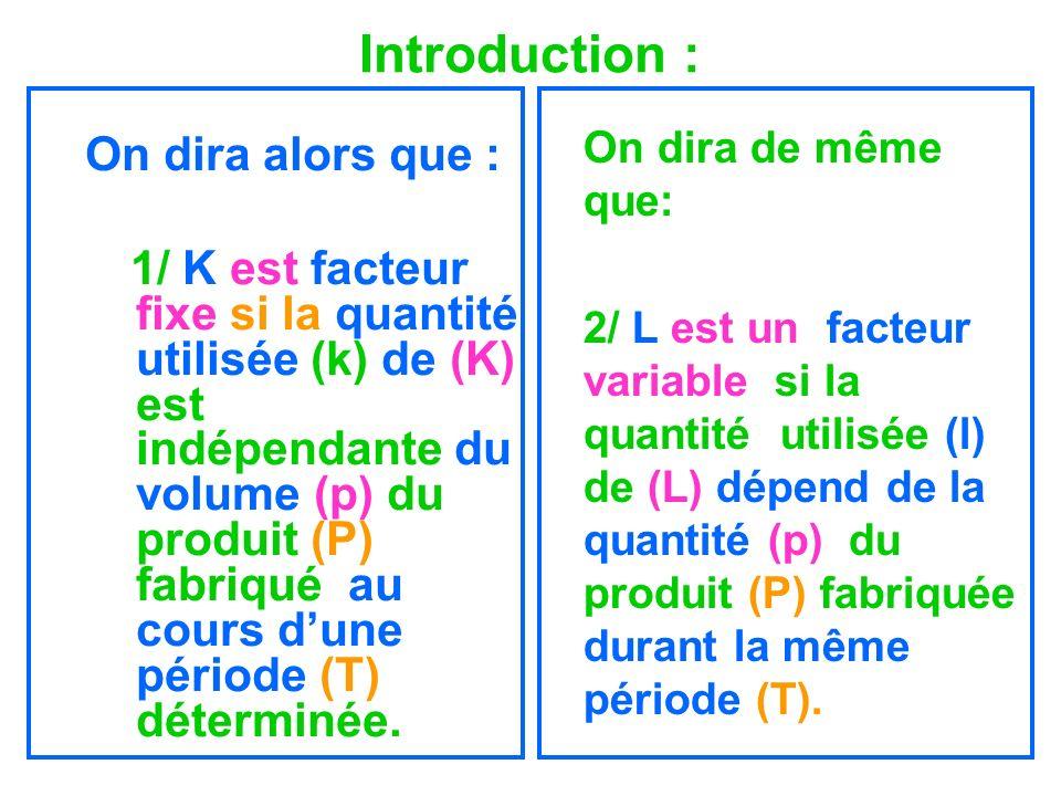 Introduction : On dira alors que : 1/ K est facteur fixe si la quantité utilisée (k) de (K) est indépendante du volume (p) du produit (P) fabriqué au