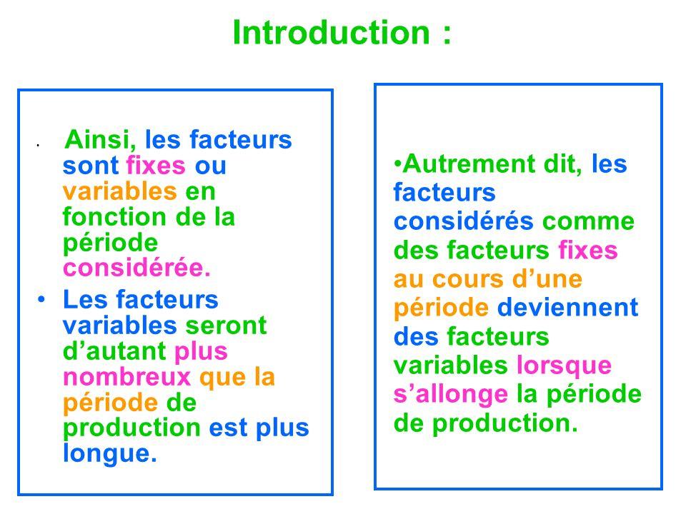 Introduction : Ainsi, les facteurs sont fixes ou variables en fonction de la période considérée. Les facteurs variables seront dautant plus nombreux q