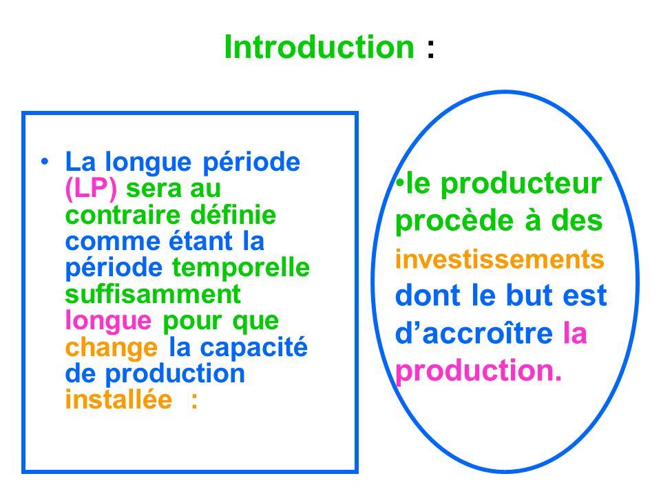 Introduction : La longue période (LP) sera au contraire définie comme étant la période temporelle suffisamment longue pour que change la capacité de p