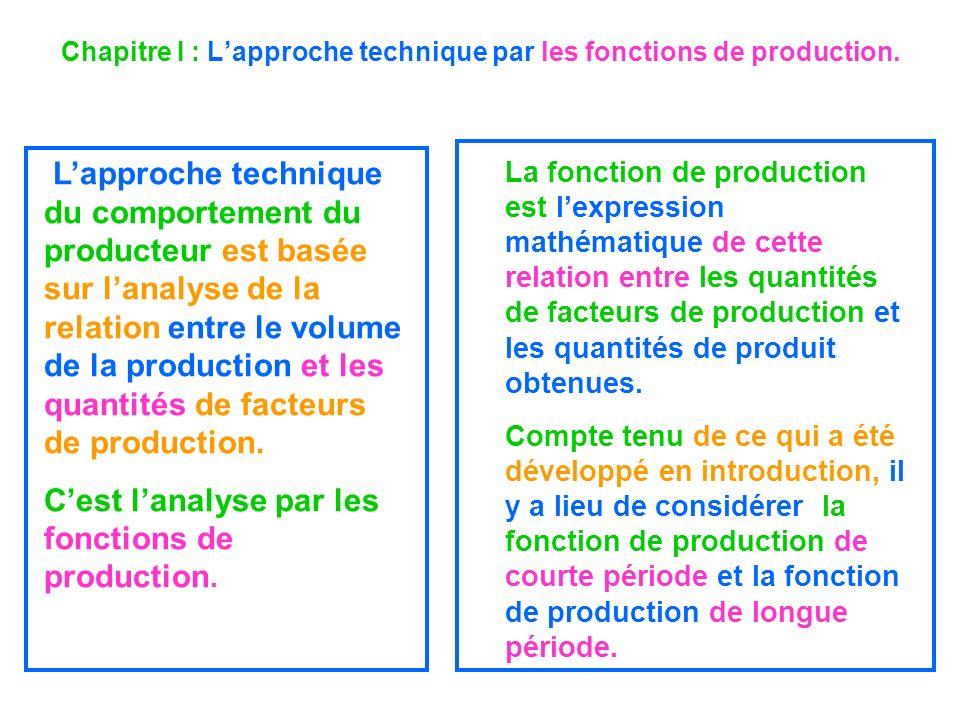 Chapitre I : Lapproche technique par les fonctions de production. Lapproche technique du comportement du producteur est basée sur lanalyse de la relat