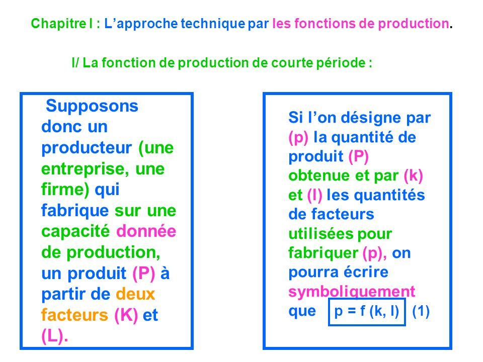 Chapitre I : Lapproche technique par les fonctions de production. I/ La fonction de production de courte période : Supposons donc un producteur (une e