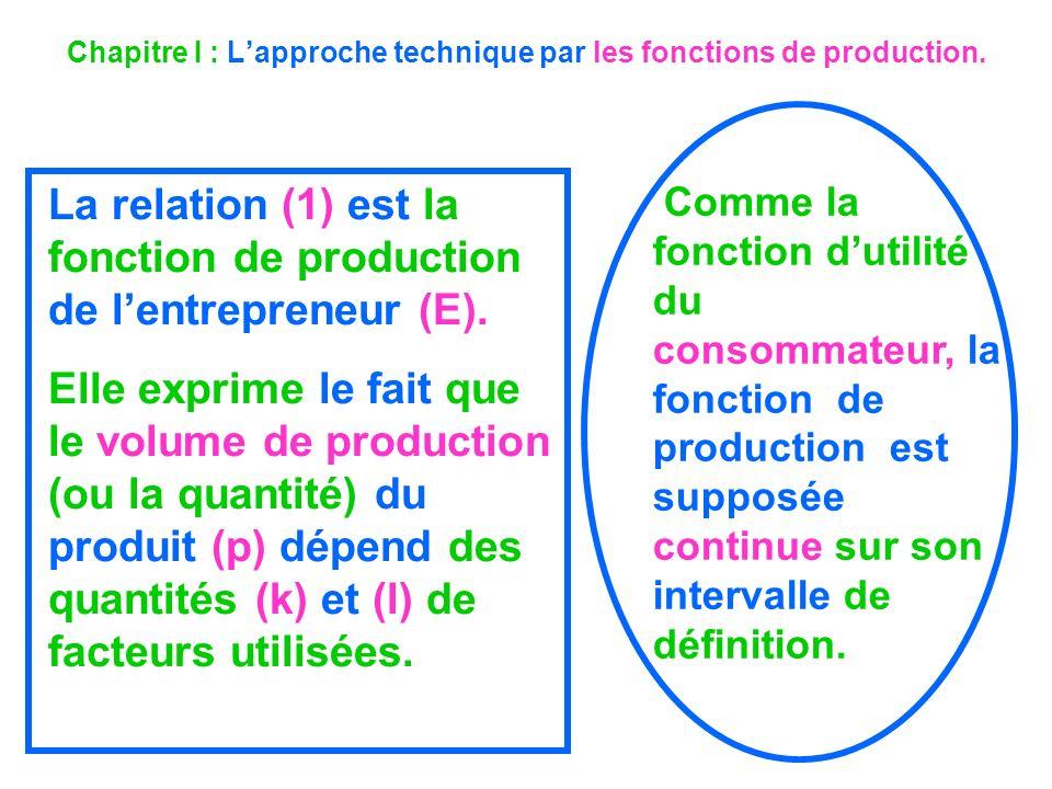Chapitre I : Lapproche technique par les fonctions de production. La relation (1) est la fonction de production de lentrepreneur (E). Elle exprime le