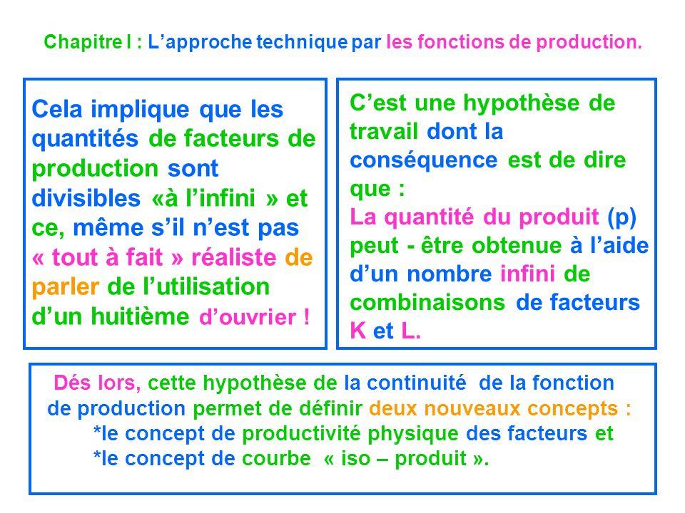 Chapitre I : Lapproche technique par les fonctions de production. Cela implique que les quantités de facteurs de production sont divisibles «à linfini