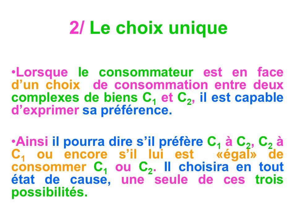 2/ Le choix unique Lorsque le consommateur est en face dun choix de consommation entre deux complexes de biens C 1 et C 2, il est capable dexprimer sa