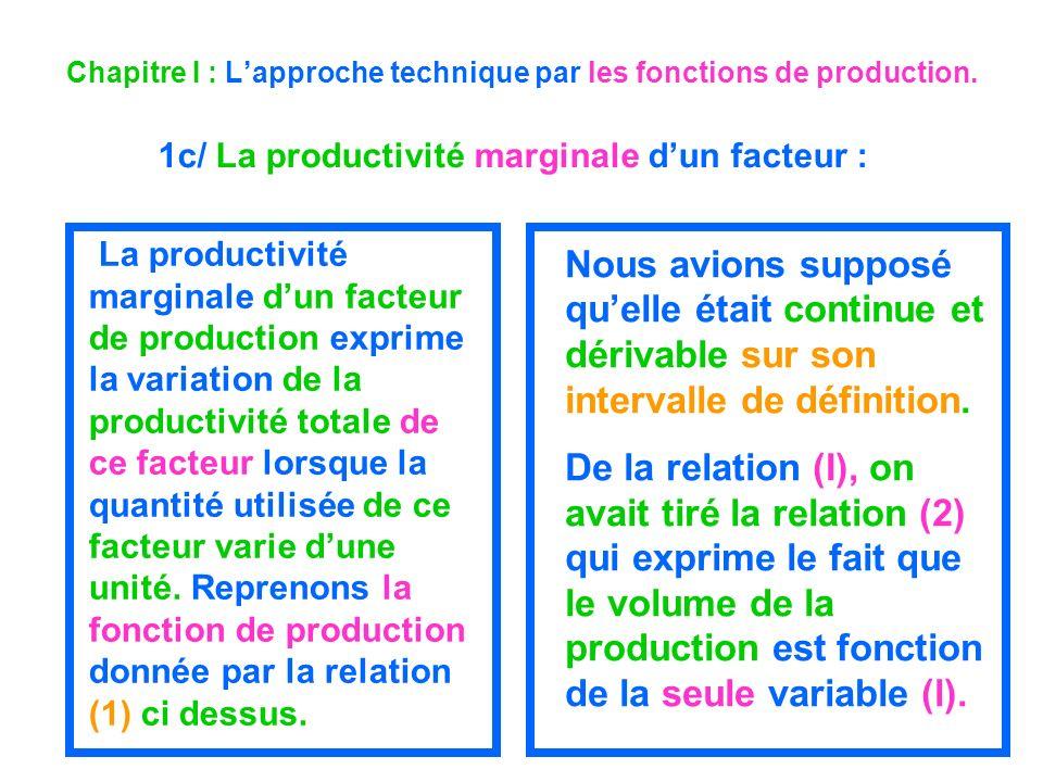 Chapitre I : Lapproche technique par les fonctions de production. 1c/ La productivité marginale dun facteur : La productivité marginale dun facteur de