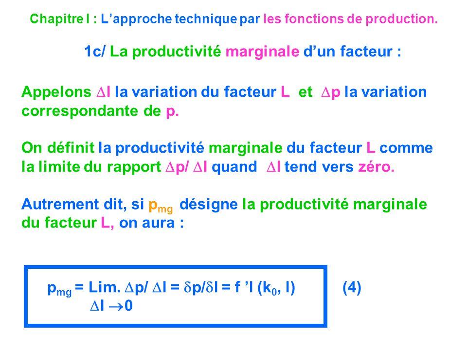 Chapitre I : Lapproche technique par les fonctions de production. 1c/ La productivité marginale dun facteur : Appelons l la variation du facteur L et