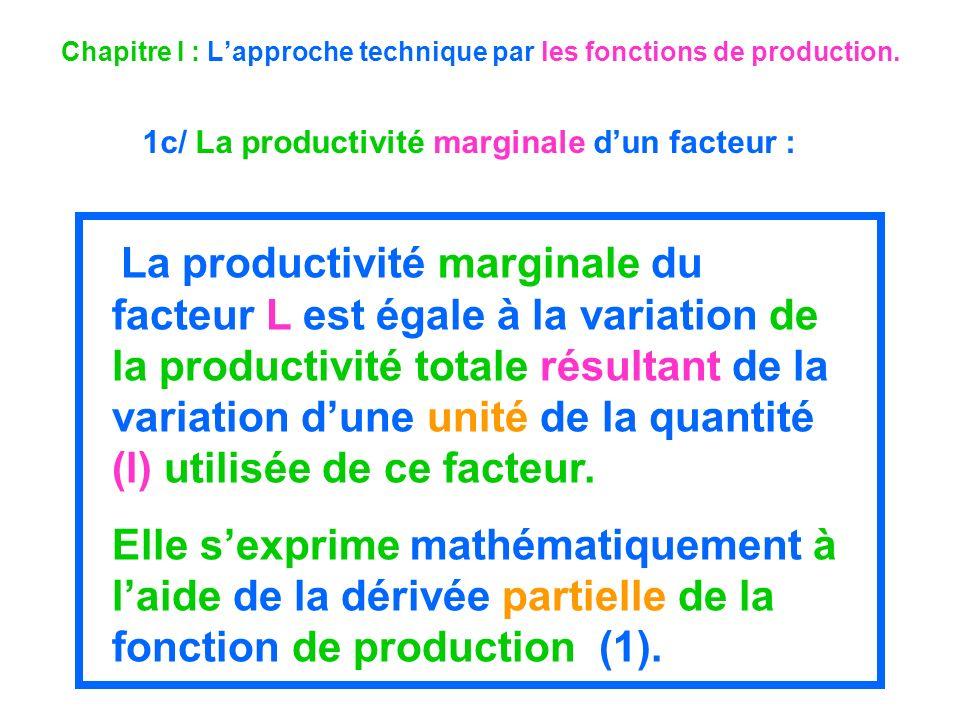 Chapitre I : Lapproche technique par les fonctions de production. 1c/ La productivité marginale dun facteur : La productivité marginale du facteur L e