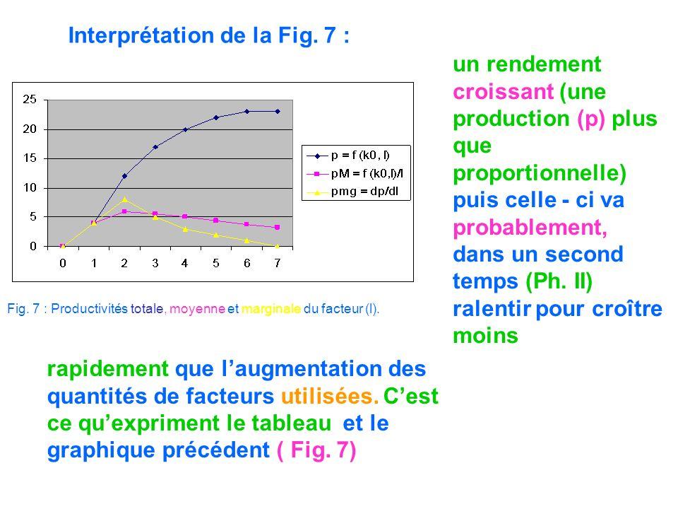 Interprétation de la Fig. 7 : Fig. 7 : Productivités totale, moyenne et marginale du facteur (l). un rendement croissant (une production (p) plus que