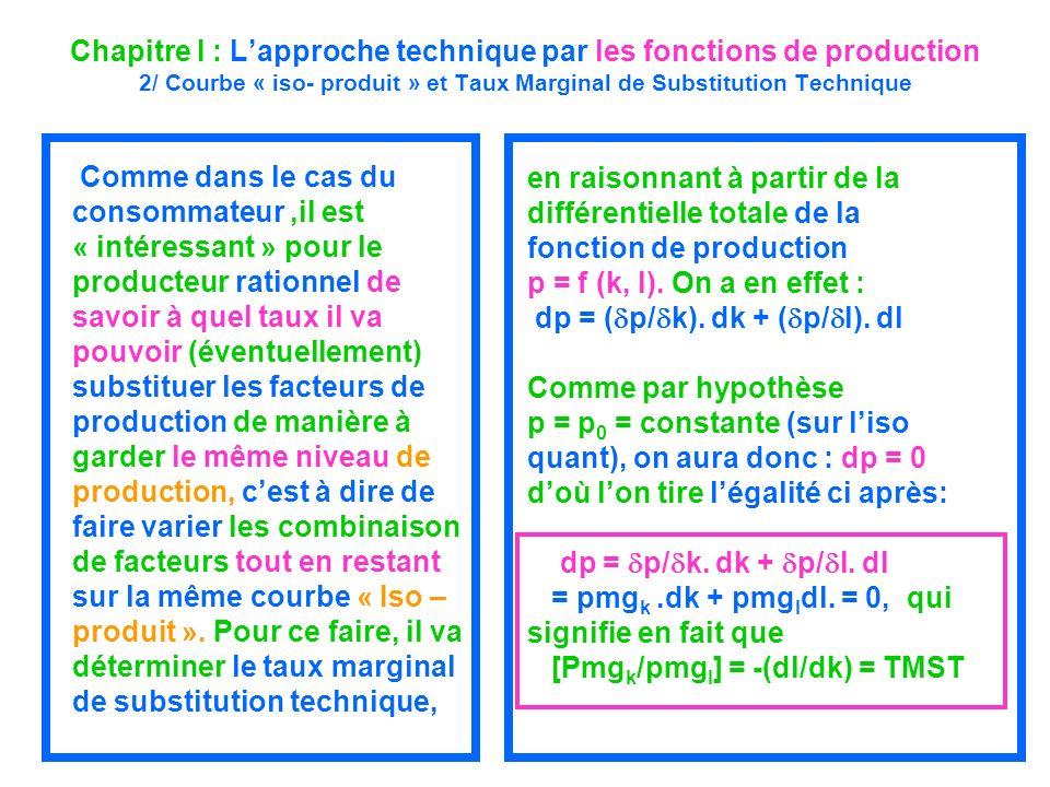 Chapitre I : Lapproche technique par les fonctions de production 2/ Courbe « iso- produit » et Taux Marginal de Substitution Technique Comme dans le c