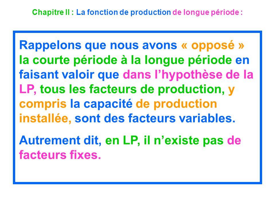 Chapitre II : La fonction de production de longue période : Rappelons que nous avons « opposé » la courte période à la longue période en faisant valoi