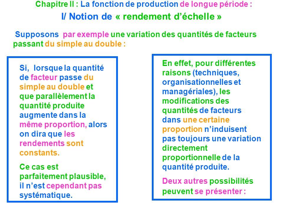 Chapitre II : La fonction de production de longue période : I/ Notion de « rendement déchelle » Supposons par exemple une variation des quantités de f