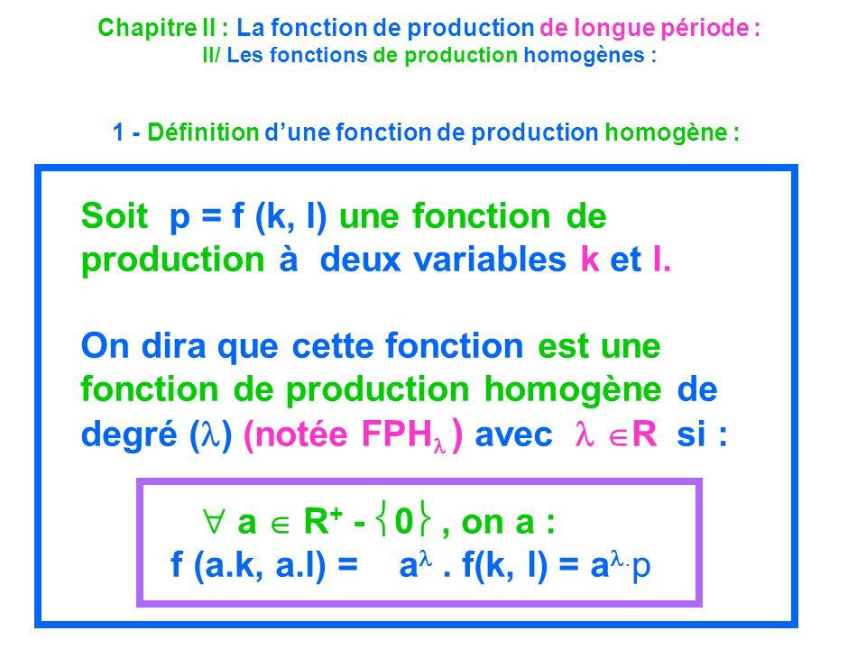 Chapitre II : La fonction de production de longue période : II/ Les fonctions de production homogènes : 1 - Définition dune fonction de production hom