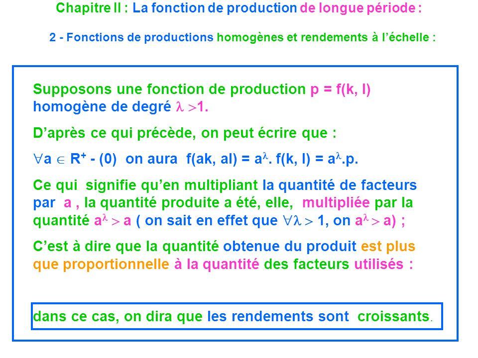 Chapitre II : La fonction de production de longue période : 2 - Fonctions de productions homogènes et rendements à léchelle : Supposons une fonction d