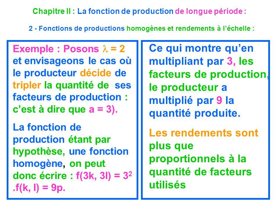 Chapitre II : La fonction de production de longue période : 2 - Fonctions de productions homogènes et rendements à léchelle : Exemple : Posons = 2 et