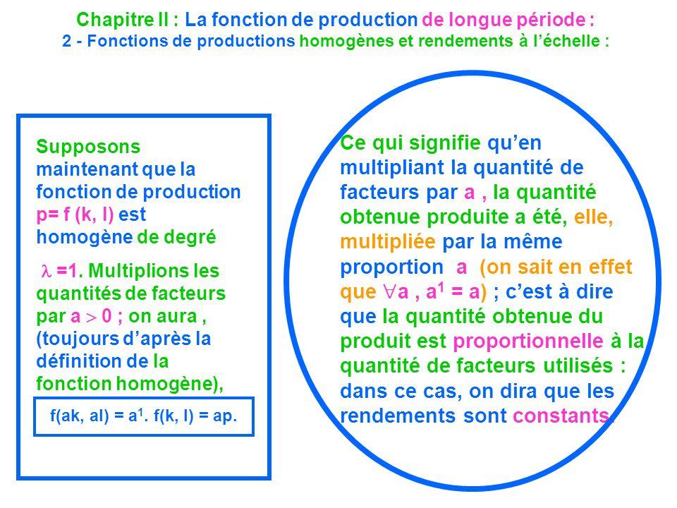 Chapitre II : La fonction de production de longue période : 2 - Fonctions de productions homogènes et rendements à léchelle : Supposons maintenant que