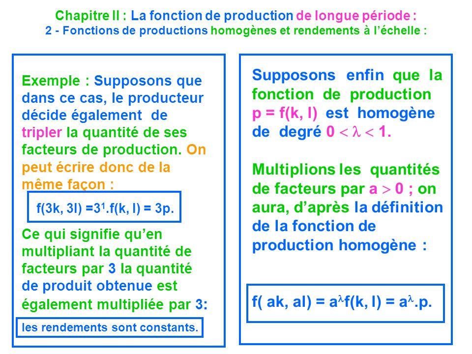 Chapitre II : La fonction de production de longue période : 2 - Fonctions de productions homogènes et rendements à léchelle : Exemple : Supposons que