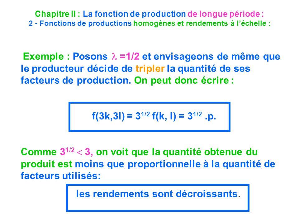 Chapitre II : La fonction de production de longue période : 2 - Fonctions de productions homogènes et rendements à léchelle : Exemple : Posons =1/2 et