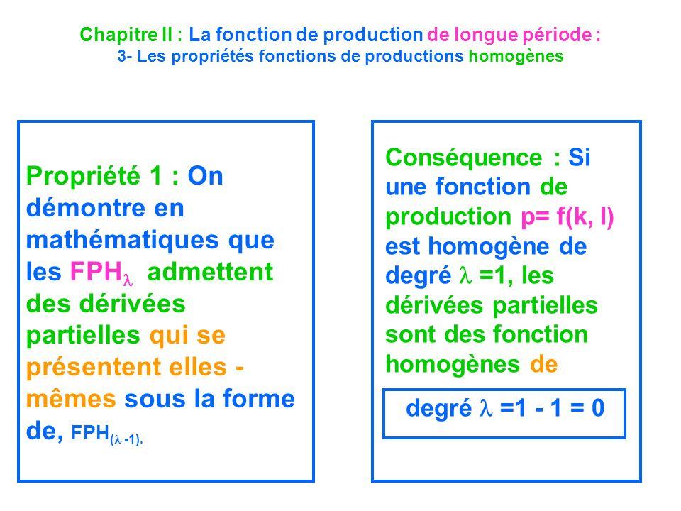 Chapitre II : La fonction de production de longue période : 3- Les propriétés fonctions de productions homogènes Propriété 1 : On démontre en mathémat