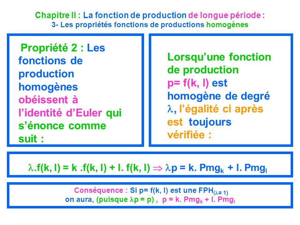 Chapitre II : La fonction de production de longue période : 3- Les propriétés fonctions de productions homogènes Propriété 2 : Les fonctions de produc