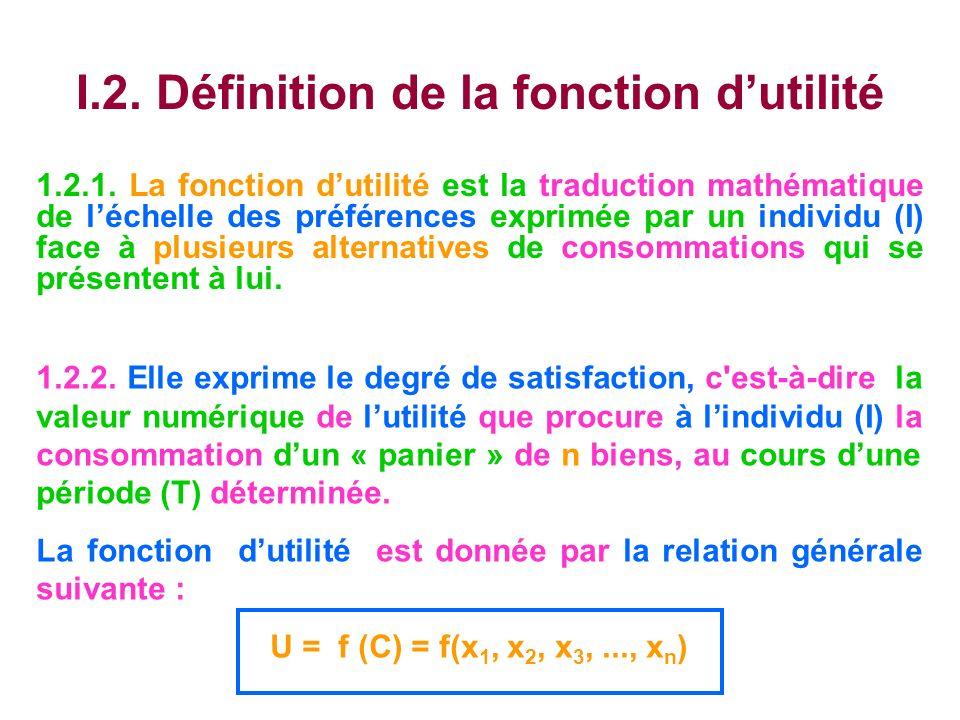 I.2. Définition de la fonction dutilité 1.2.1. La fonction dutilité est la traduction mathématique de léchelle des préférences exprimée par un individ