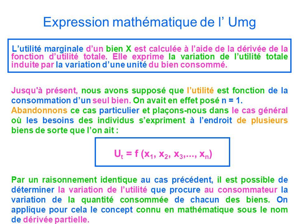 Expression mathématique de l Umg Lutilité marginale dun bien X est calculée à laide de la dérivée de la fonction dutilité totale. Elle exprime la vari