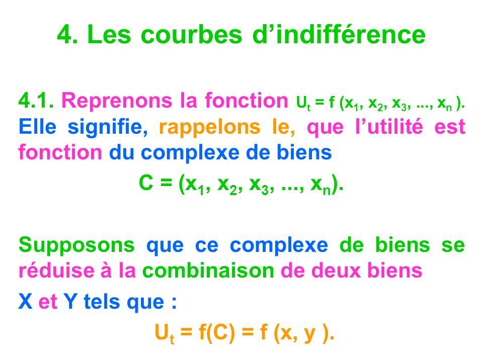 4. Les courbes dindifférence 4.1. Reprenons la fonction U t = f (x 1, x 2, x 3,..., x n ). Elle signifie, rappelons le, que lutilité est fonction du c