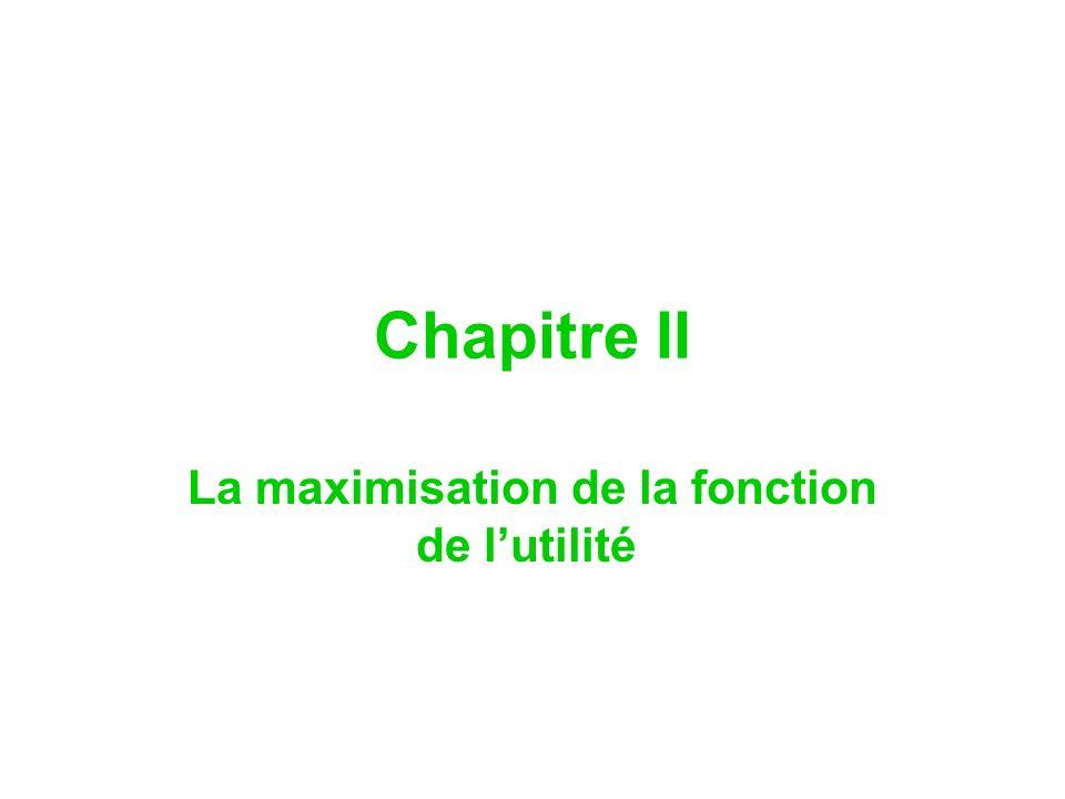 Chapitre II La maximisation de la fonction de lutilité