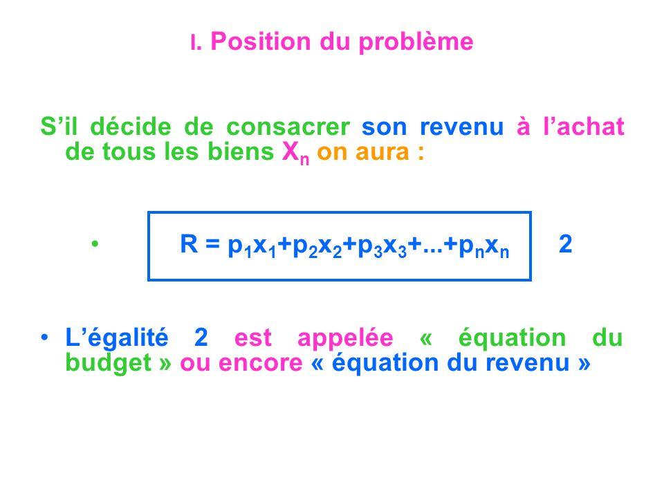 I. Position du problème Sil décide de consacrer son revenu à lachat de tous les biens X n on aura : R = p 1 x 1 +p 2 x 2 +p 3 x 3 +...+p n x n 2 Légal
