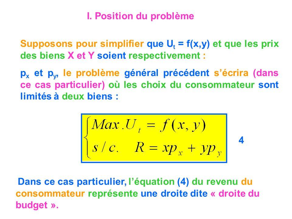 Supposons pour simplifier que U t = f(x,y) et que les prix des biens X et Y soient respectivement : p x et p y, le problème général précédent sécrira