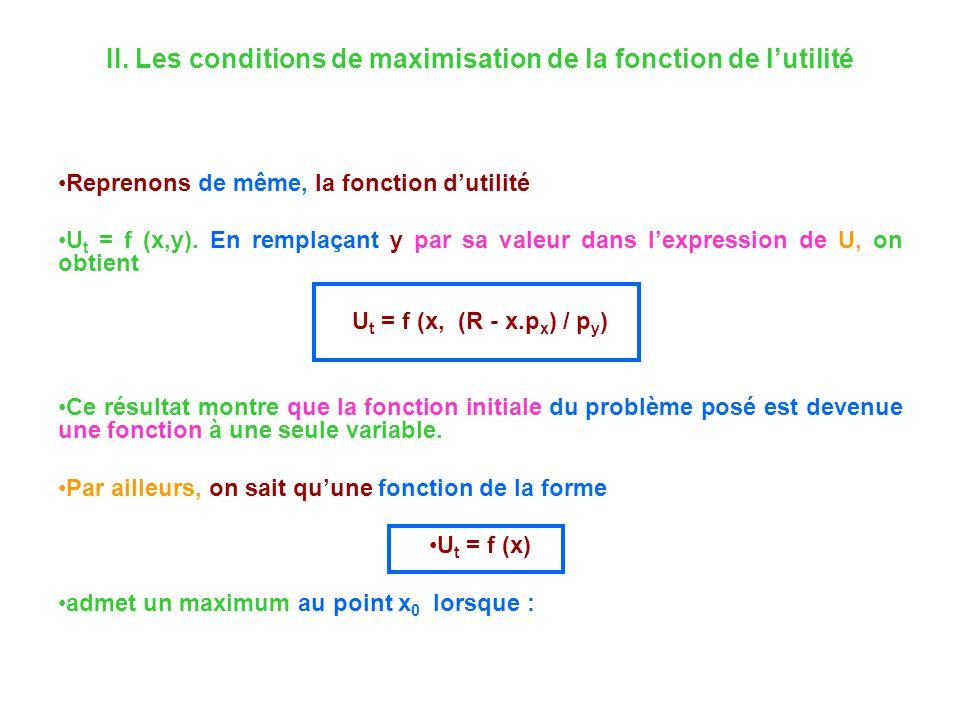 II. Les conditions de maximisation de la fonction de lutilité Reprenons de même, la fonction dutilité U t = f (x,y). En remplaçant y par sa valeur dan