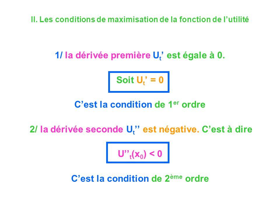 II. Les conditions de maximisation de la fonction de lutilité 1/ la dérivée première U t est égale à 0. Soit U t = 0 Cest la condition de 1 er ordre 2
