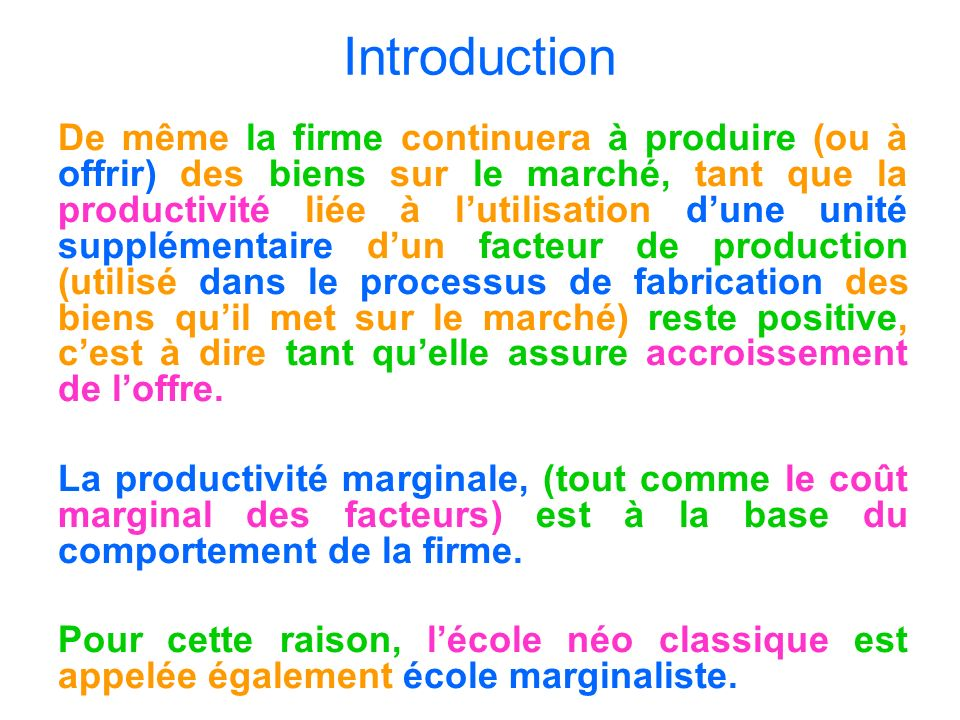 Introduction : On dira alors que : 1/ K est facteur fixe si la quantité utilisée (k) de (K) est indépendante du volume (p) du produit (P) fabriqué au cours dune période (T) déterminée.