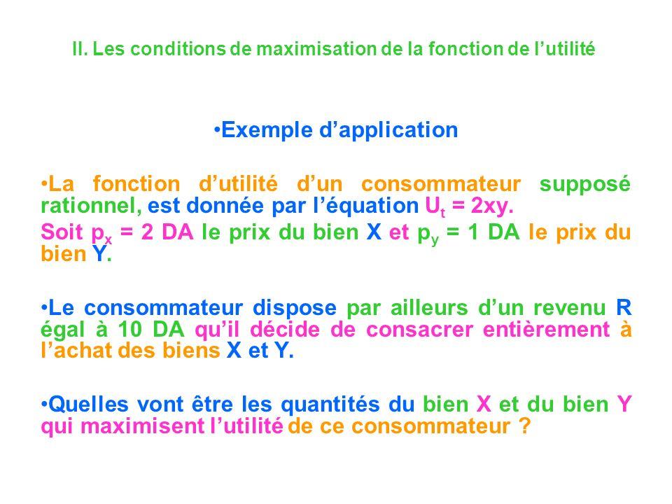 II. Les conditions de maximisation de la fonction de lutilité Exemple dapplication La fonction dutilité dun consommateur supposé rationnel, est donnée