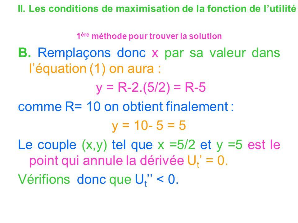 II. Les conditions de maximisation de la fonction de lutilité 1 ère méthode pour trouver la solution B. Remplaçons donc x par sa valeur dans léquation