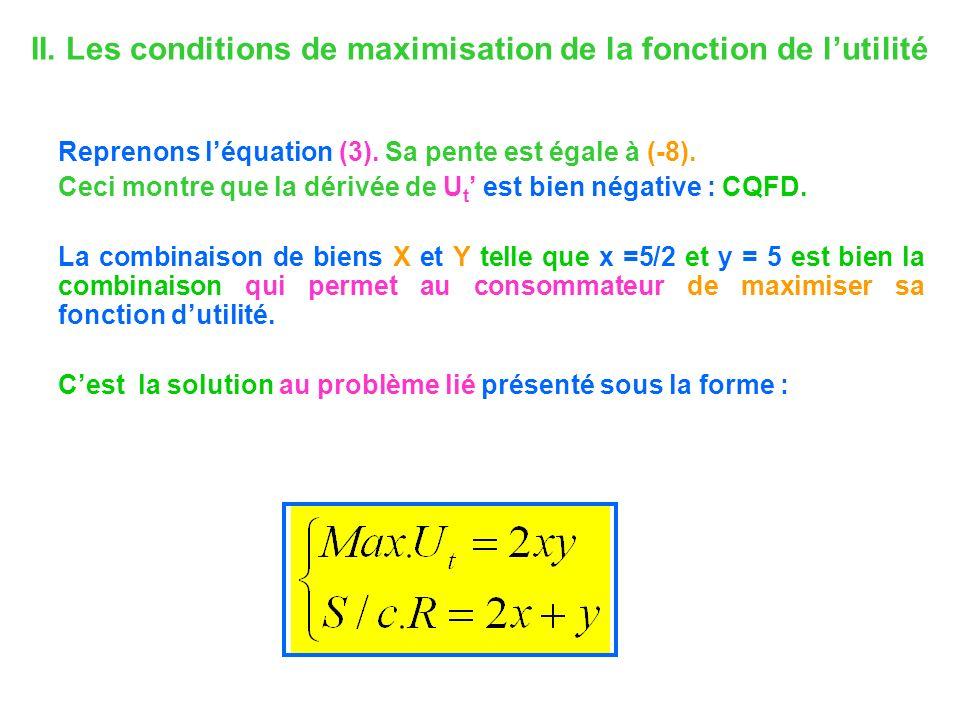 II. Les conditions de maximisation de la fonction de lutilité Reprenons léquation (3). Sa pente est égale à (-8). Ceci montre que la dérivée de U t es
