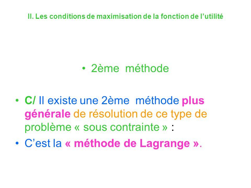 II. Les conditions de maximisation de la fonction de lutilité 2ème méthode C/ Il existe une 2ème méthode plus générale de résolution de ce type de pro