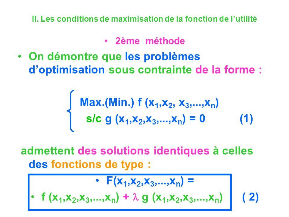 II. Les conditions de maximisation de la fonction de lutilité 2ème méthode On démontre que les problèmes doptimisation sous contrainte de la forme : M