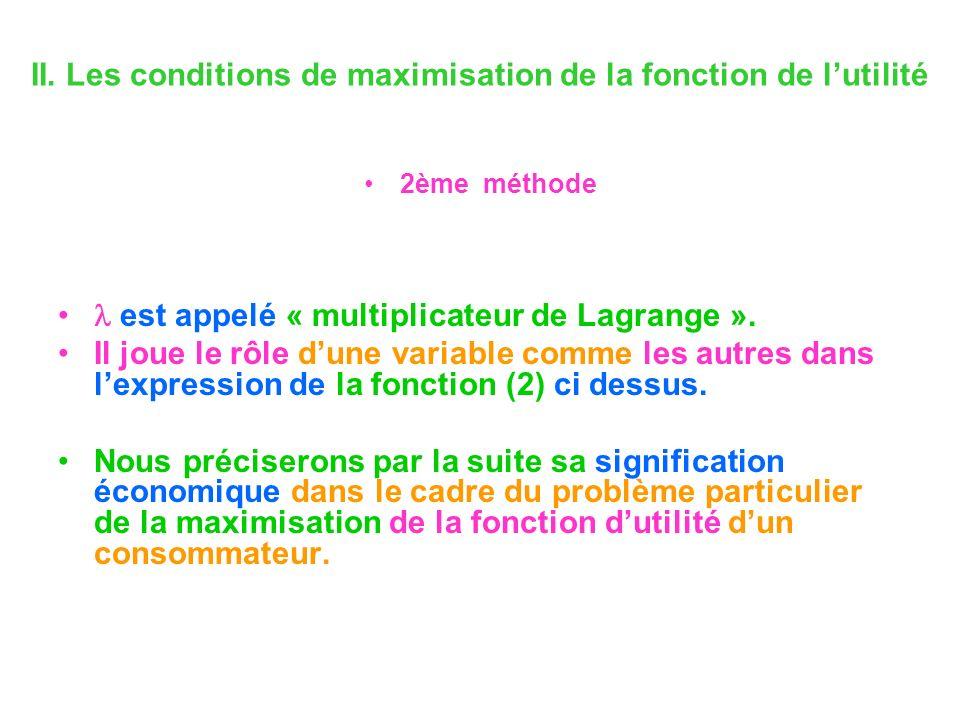 II. Les conditions de maximisation de la fonction de lutilité 2ème méthode est appelé « multiplicateur de Lagrange ». Il joue le rôle dune variable co
