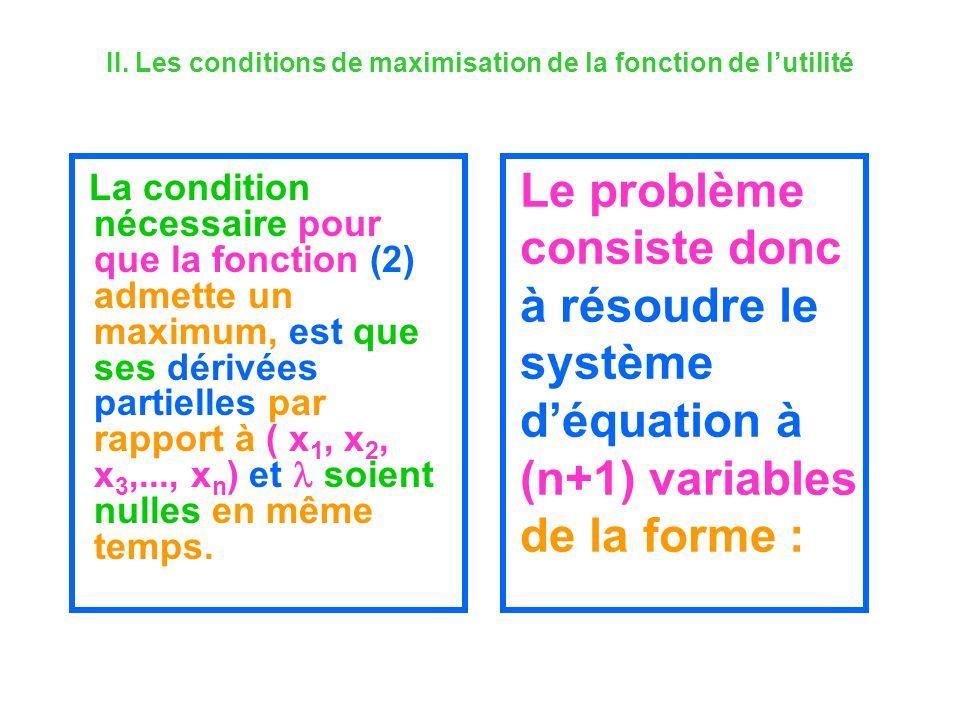 II. Les conditions de maximisation de la fonction de lutilité La condition nécessaire pour que la fonction (2) admette un maximum, est que ses dérivée