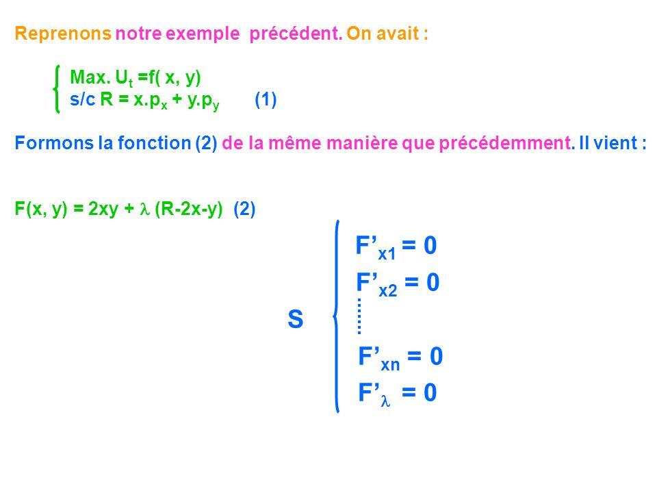 F x1 = 0 F x2 = 0 S F xn = 0 F = 0 Reprenons notre exemple précédent. On avait : Max. U t =f( x, y) s/c R = x.p x + y.p y (1) Formons la fonction (2)