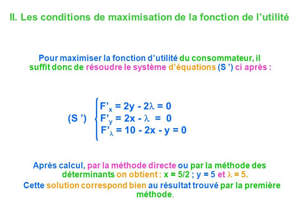 II. Les conditions de maximisation de la fonction de lutilité Pour maximiser la fonction dutilité du consommateur, il suffit donc de résoudre le systè