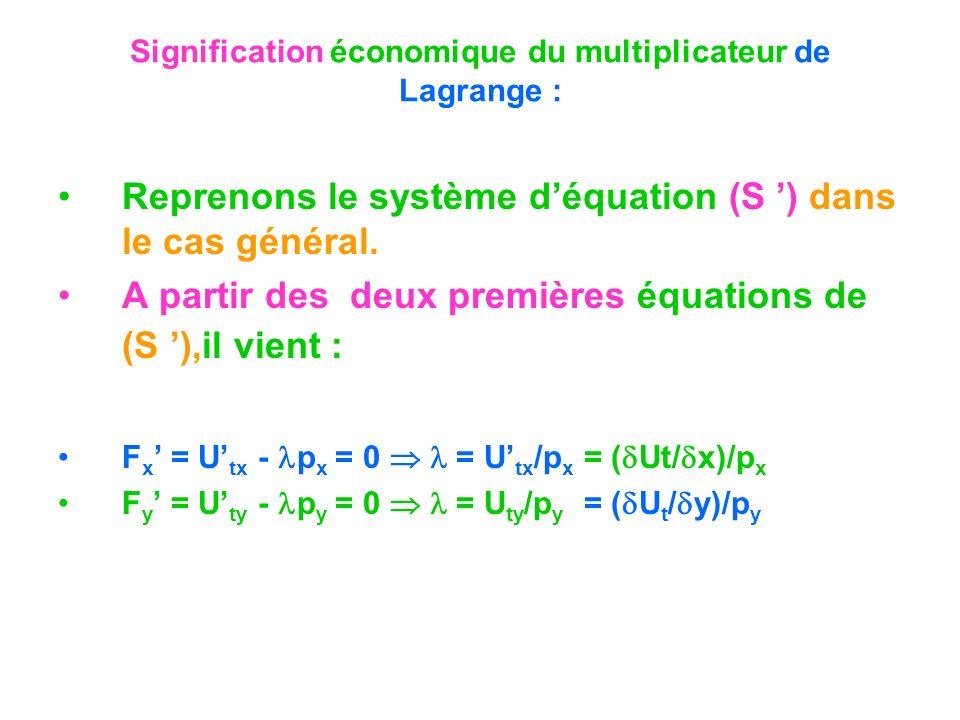 Signification économique du multiplicateur de Lagrange : Reprenons le système déquation (S ) dans le cas général. A partir des deux premières équation