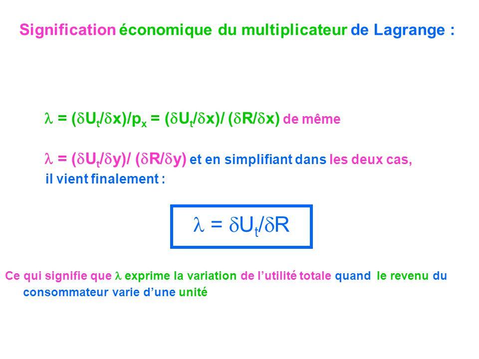 Signification économique du multiplicateur de Lagrange : = ( U t / x)/p x = ( U t / x)/ ( R/ x) de même = ( U t / y)/ ( R/ y) et en simplifiant dans l