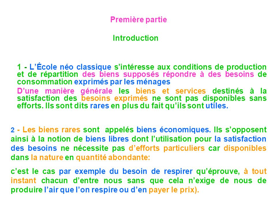 Première partie Introduction 1 - LÉcole néo classique sintéresse aux conditions de production et de répartition des biens supposés répondre à des beso
