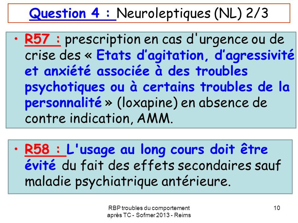 RBP troubles du comportement après TC - Sofmer 2013 - Reims 10 Question 4 : Neuroleptiques (NL) 2/3 R57 :R57 : prescription en cas d'urgence ou de cri