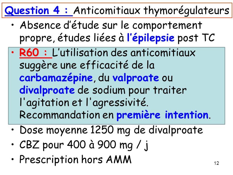 12 Question 4 : Anticomitiaux thymorégulateurs Absence détude sur le comportement propre, études liées à lépilepsie post TC R60 :R60 : Lutilisation de